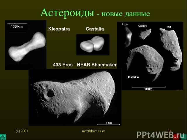 (c) 2001 mez@karelia.ru * Астероиды - новые данные Kleopatra 433 Eros - NEAR Shoemaker Castalia mez@karelia.ru