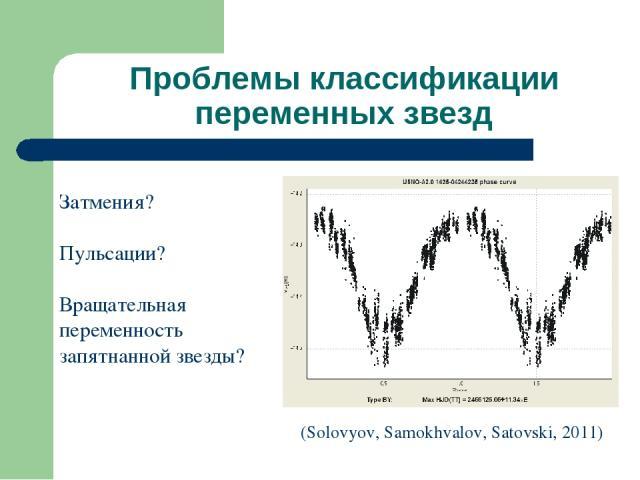 Проблемы классификации переменных звезд Затмения? Пульсации? Вращательная переменность запятнанной звезды? (Solovyov, Samokhvalov, Satovski, 2011)