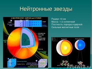 Нейтронные звезды Радиус 10 км Масса 1-2 солнечной Плотность порядка ядерной Сил
