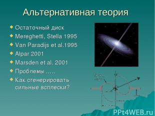 Альтернативная теория Остаточный диск Mereghetti, Stella 1995 Van Paradijs et al