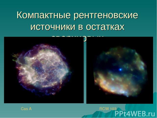 Компактные рентгеновские источники в остатках сверхновых Cas A RCW 103