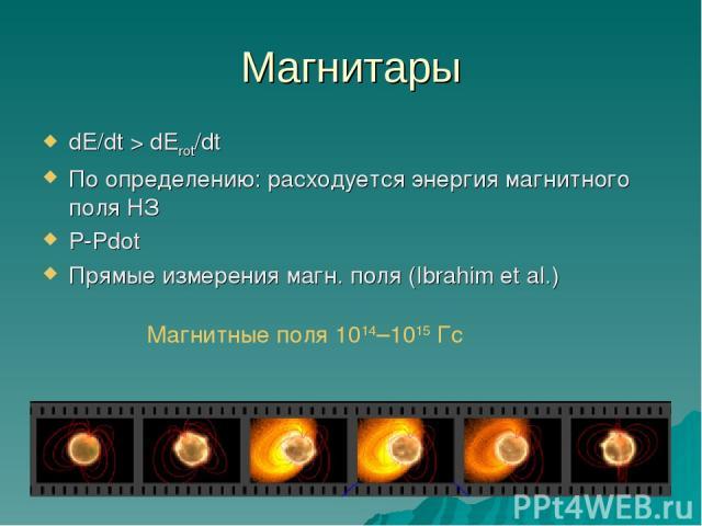 Магнитары dE/dt > dErot/dt По определению: расходуется энергия магнитного поля НЗ P-Pdot Прямые измерения магн. поля (Ibrahim et al.) Магнитные поля 1014–1015 Гс