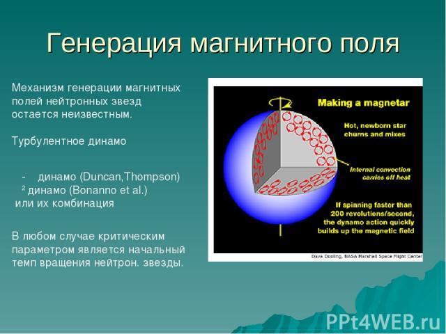 Генерация магнитного поля Механизм генерации магнитных полей нейтронных звезд остается неизвестным. Турбулентное динамо α-Ω динамо (Duncan,Thompson) α2 динамо (Bonanno et al.) или их комбинация В любом случае критическим параметром является начальны…