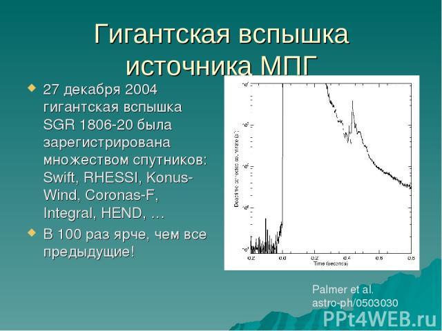 Гигантская вспышка источника МПГ 27 декабря 2004 гигантская вспышка SGR 1806-20 была зарегистрирована множеством спутников: Swift, RHESSI, Konus-Wind, Coronas-F, Integral, HEND, … В 100 раз ярче, чем все предыдущие! Palmer et al. astro-ph/0503030