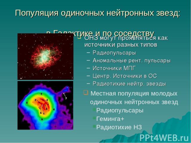 Популяция одиночных нейтронных звезд: в Галактике и по соседству ОНЗ могут проявляться как источники разных типов Радиопульсары Аномальные рент. пульсары Источники МПГ Центр. Источники в ОС Радиотихие нейтр. звезды Местная популяция молодых одиночны…