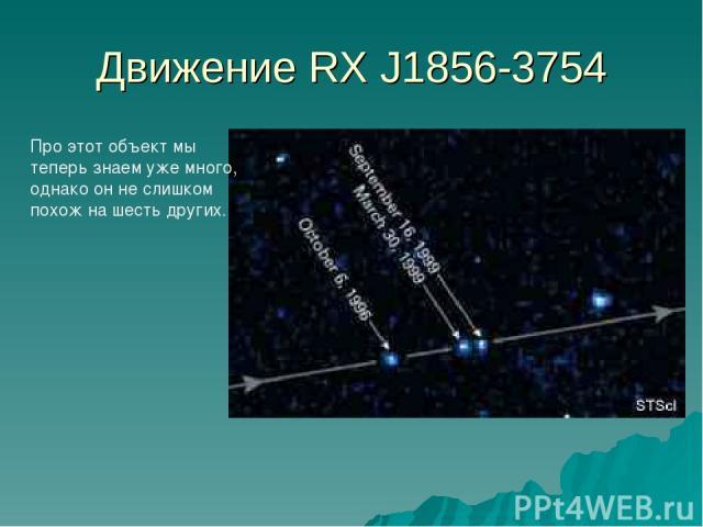 Движение RX J1856-3754 Про этот объект мы теперь знаем уже много, однако он не слишком похож на шесть других.