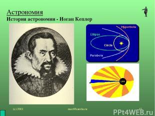 (с) 2001 mez@karelia.ru * Астрономия История астрономии - Иоган Кеплер mez@karel