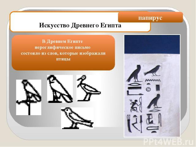 Искусство Древнего Египта В Древнем Египте иероглифическое письмо состояло из слов, которые изображали птицы папирус