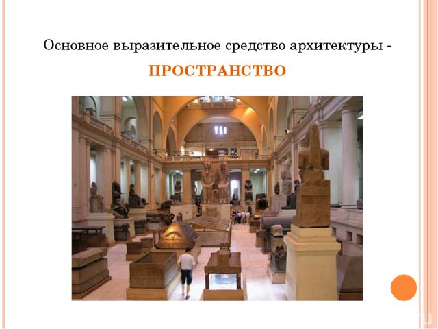 Основное выразительное средство архитектуры - ПРОСТРАНСТВО