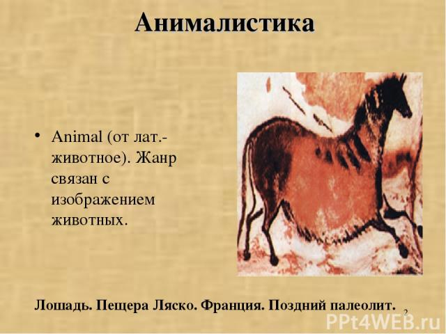 * Анималистика Animal (от лат.-животное). Жанр связан с изображением животных. Лошадь. Пещера Ляско. Франция. Поздний палеолит.