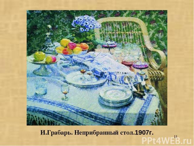 * И.Грабарь. Неприбранный стол.1907г.