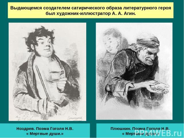 Выдающемся создателем сатирического образа литературного героя был художник-иллюстратор А. А. Агин. Ноздрев. Поэма Гоголя Н.В. « Мертвые души.» Плюшкин. Поэма Гоголя Н.В. « Мертвые души.»