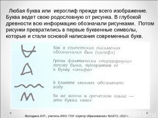 Любая буква или иероглиф прежде всего изображение. Буква ведет свою родословную