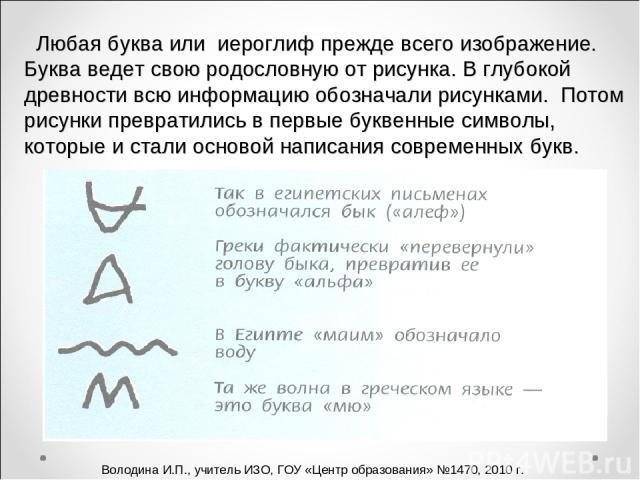 Любая буква или иероглиф прежде всего изображение. Буква ведет свою родословную от рисунка. В глубокой древности всю информацию обозначали рисунками. Потом рисунки превратились в первые буквенные символы, которые и стали основой написания современны…