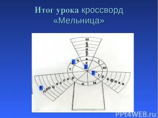 Итог урока кроссворд «Мельница» п т а н м р ю т р о г а ф и к а 4 р о ц е с с о