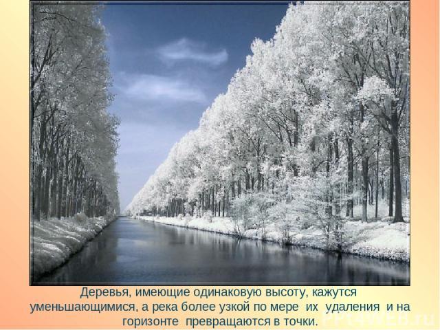 Деревья, имеющие одинаковую высоту, кажутся уменьшающимися, а река более узкой по мере их удаления и на горизонте превращаются в точки.