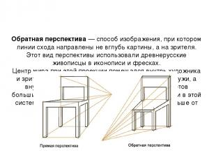 Обратная перспектива— способ изображения, при котором линии схода направлены не