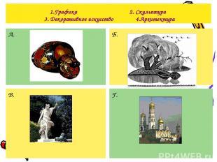 1.Графика 2. Скульптура 3. Декоративное искусство 4.Архитектура А. Б. В. Г.