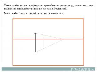 Линии схода - это линии, образующие края объекта с учетом их удаленности от точк