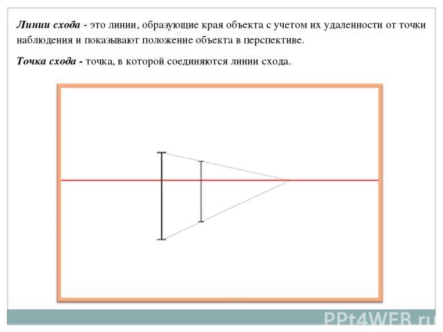 Линии схода - это линии, образующие края объекта с учетом их удаленности от точки наблюдения и показывают положение объекта в перспективе. Точка схода - точка, в которой соединяются линии схода.
