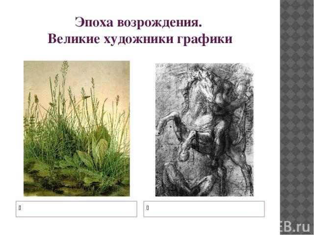Эпоха возрождения. Великие художники графики Альбрехт Дюрер Тициан Вечеллио