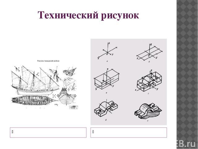 Технический рисунок Чертеж строения корабля Чертеж детали