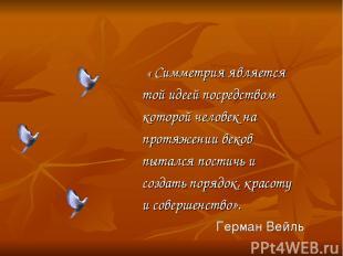 « Симметрия является той идеей посредством которой человек на протяжении веков п