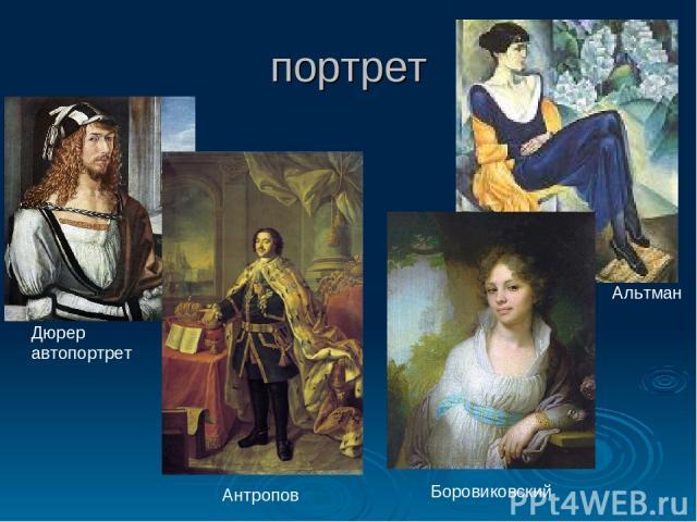 портрет Дюрер автопортрет Альтман Боровиковский Антропов