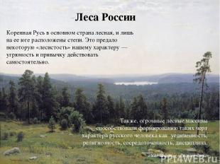 Леса России Коренная Русь в основном страна лесная, и лишь на ее юге расположены