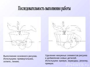 Выполнение основного рисунка. Используем: прямоугольник, эллипс, линию. Удаление