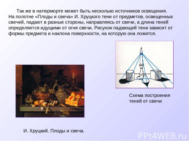 Так же в натюрморте может быть несколько источников освещения. На полотне «Плоды и свеча» И. Хруцкого тени от предметов, освещенных свечей, падают в разные стороны, направляясь от свечи, а длина теней определяется идущими от огня свечи. Рисунок пада…