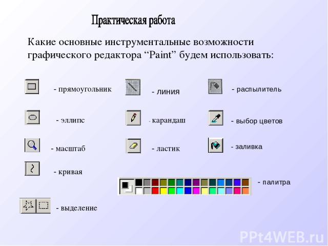 """- прямоугольник Какие основные инструментальные возможности графического редактора """"Paint"""" будем использовать: - карандаш - кривая - эллипс - ластик - масштаб - выделение - линия - распылитель - палитра - выбор цветов - заливка"""