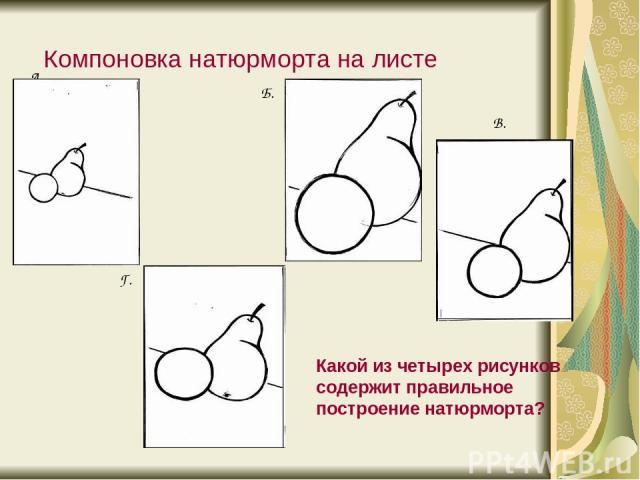 Компоновка натюрморта на листе А. Б. В. Г. Какой из четырех рисунков содержит правильное построение натюрморта?