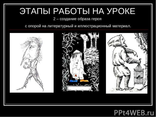 ЭТАПЫ РАБОТЫ НА УРОКЕ 2 – создание образа героя с опорой на литературный и иллюстрационный материал. 1). В то время Маленький Мук был уже стариком, но рост имел крошечный. Вид у него был довольно смешной: на маленьком, тощем тельце торчала огромная …