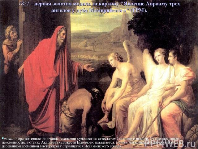 1821 - первая золотая медаль за картину