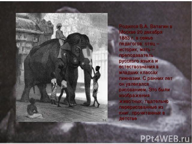 Родился В.А. Ватагин в Москве 20 декабря 1883 г. в семье педагогов: отец – историк, мать – преподаватель русского языка и естествознания в младших классах гимназии. C ранних лет он увлекался рисованием. Это были изображения животных, тщательно перер…