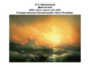 И. К. Айвазовский Девятый вал 1850г, холст, масло, 221 x332 Государственный Русс