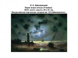И. К. Айвазовский Берег моря ночью (У маяка) 1837г, холст, масло, 56 х 81 см. Фе