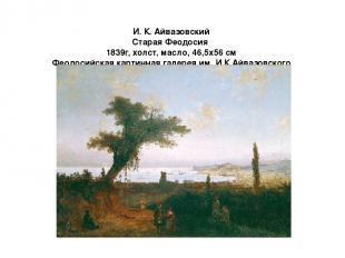 И. К. Айвазовский Старая Феодосия 1839г, холст, масло, 46,5x56 см Феодосийская к