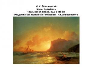 И. К. Айвазовский Море. Коктебель 1853г, холст, масло, 82,5 x 118 см Феодосийска