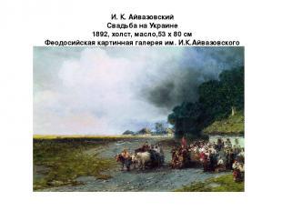 И. К. Айвазовский Свадьба на Украине 1892, холст, масло,53 x 80 см Феодосийская