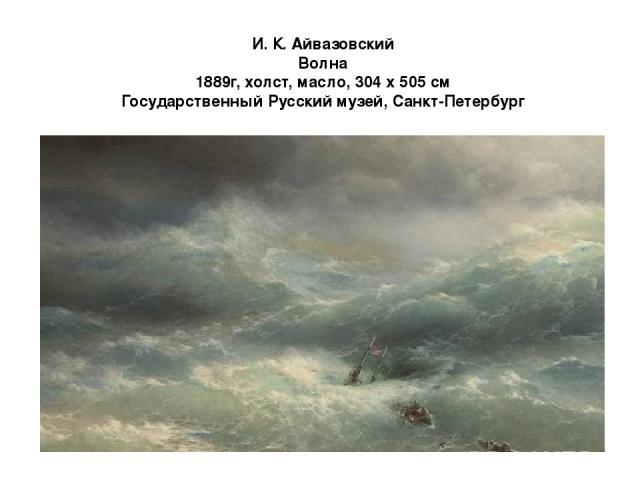 И. К. Айвазовский Волна 1889г, холст, масло, 304 х 505 см Государственный Русский музей, Санкт-Петербург Грандиозный холст «Волна» – яркий образец позднего творчества Айвазовского. Любопытно, что в момент создания картины художнику было уже 72 года.…