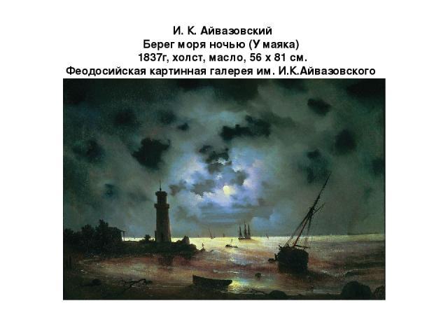 И. К. Айвазовский Берег моря ночью (У маяка) 1837г, холст, масло, 56 х 81 см. Феодосийская картинная галерея им. И.К.Айвазовского