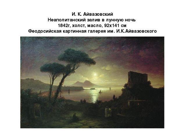 И. К. Айвазовский Неаполитанский залив в лунную ночь 1842г, холст, масло, 92x141 см Феодосийская картинная галерея им. И.К.Айвазовского