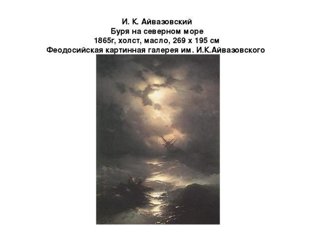 И. К. Айвазовский Буря на cеверном море 1865г, холст, масло, 269 x 195 см Феодосийская картинная галерея им. И.К.Айвазовского