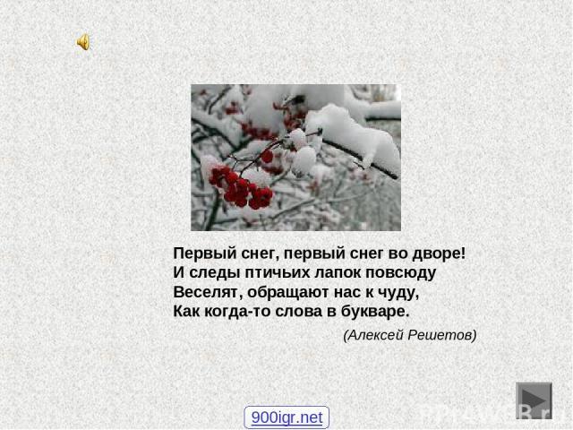 Первый снег, первый снег во дворе! И следы птичьих лапок повсюду Веселят, обращают нас к чуду, Как когда-то слова в букваре. (Алексей Решетов) 900igr.net