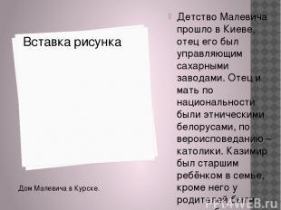 Детство Малевича прошло в Киеве, отец его был управляющим сахарными заводами. От