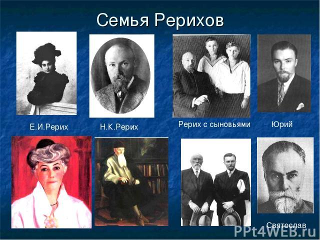 Семья Рерихов Юрий Святослав Рерих с сыновьями Н.К.Рерих Е.И.Рерих
