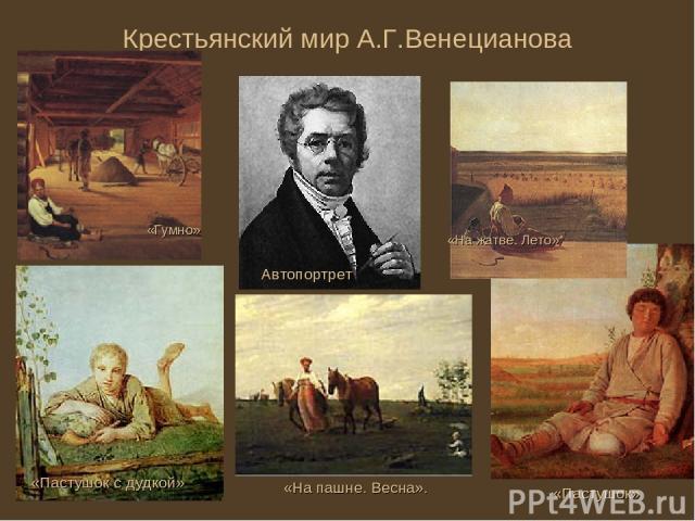 Крестьянский мир А.Г.Венецианова Автопортрет «На пашне. Весна». «Пастушок с дудкой» «Пастушок» «На жатве. Лето» «Гумно»