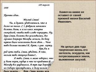 «20 апреля 1888 Прочти один. Милый Саша! Ты, я думаю, удивляешься, что я долго н